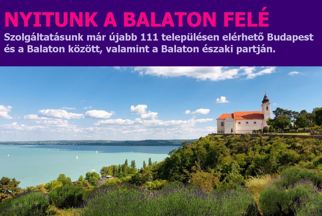 Szolgáltatásunk már újabb 111 településen elérhető Budapest és a Balaton között, valamint a Balaton északi partján.