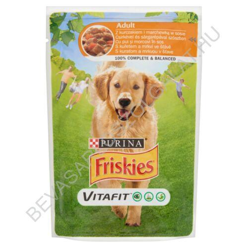 Friskies Vitafit Adult Alutasakos Kutyaeledel Csirkével és Sárgarépával Szószban 100 g (#20)