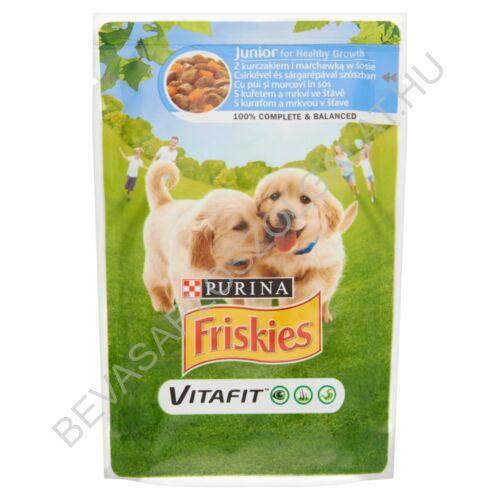 Friskies Vitafit Junior Alutasakos Kutyaeledel Csirkével és Sárgarépával Szószban 100 g (#20)