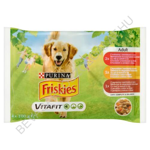 Friskies Vitafit Adult Alutasakos Kutyaeledel Szószban 3 féle Íz 4x100 g (#10)