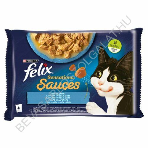 Felix Sensations Sauces Alutasakos Macskaeledel Halas Válogatás 2 Féle Íz 4x100 g=400 g (#10)