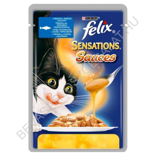 Felix Sensations Sauces Alutasakos Macskaeledel Tőkehallal Szószban Paradicsommal 100 g (#20)