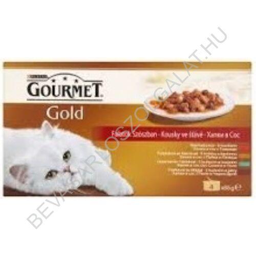 Gourmet Gold Macskaeledel Konzerv Falatok Szószban 4 Féle Íz multipack 4x85 g