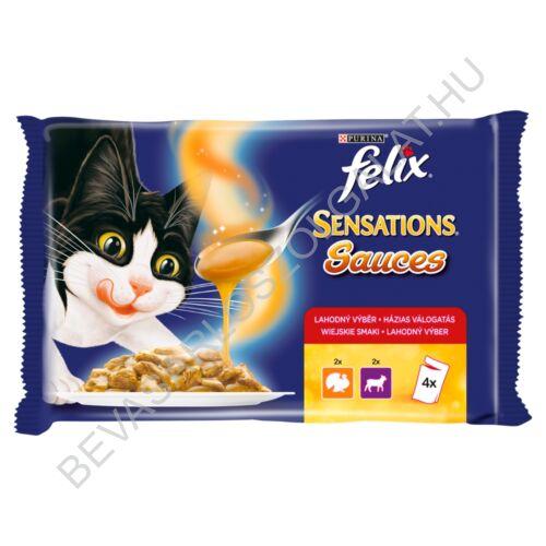 Felix Sensations Sauces Alutasakos Macskaeledel Házias Válogatás 2 Pulyka + 2 Bárány 4x100 g=400 g (#10)