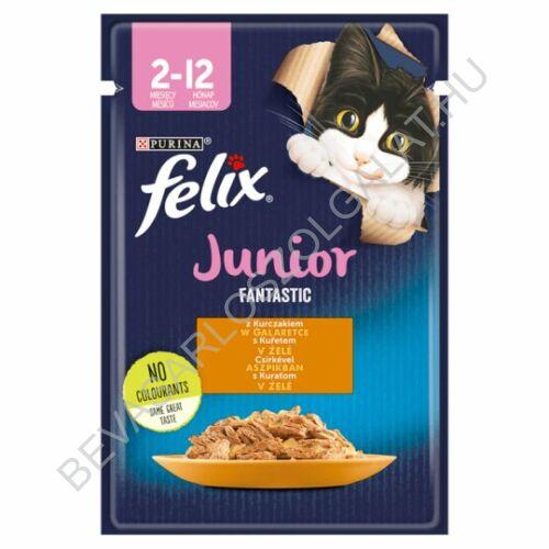 Felix Fantastic Junior Alutasakos Macskaeledel Csirkével Aszpikban 85 g (#20)