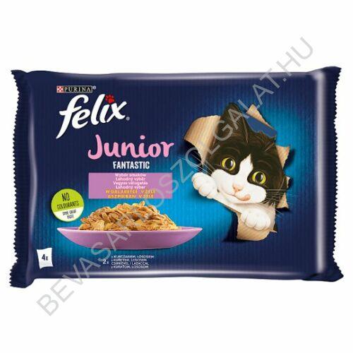 Felix Fantastic Junior Alutasakos Macskaeledel 2 db Csirkével + 2 db Lazaccal Aszpikban 4x85 g