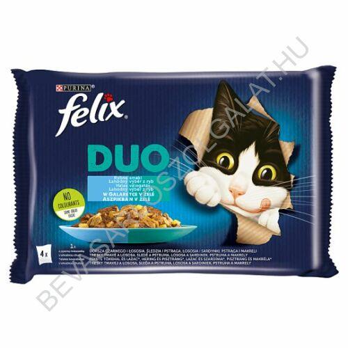 Felix Fantastic Duo Alutasakos Macskaeledel Halas Válogatás Aszpikban 4x85 g=340 g (#10)