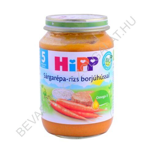 Hipp BIO Bébiétel Sárgarépa - Rizs Borjúhússal - 5 hónapos kortól 190 g