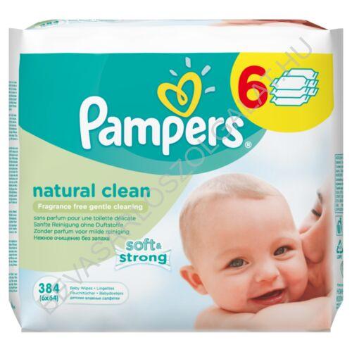 Pampers Natural Clean Törlőkendő utántöltő megapack 6x64 db = 384 db