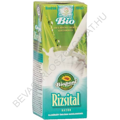 Biopont Bio Rizsital Natúr UHT szívószálas 200 ml