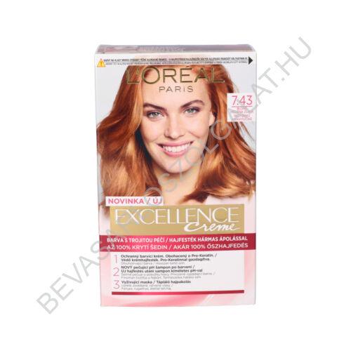 L'oréal Paris Excellence Creme Rézfényű Aranyszőke Hajfesték (7.43)