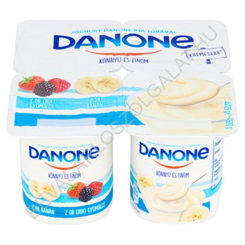 Danone Könnyű és Finom Joghurt 2 db Erdei gyümölcs + 2 db Banán 4x125 g=500 g