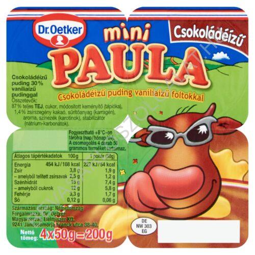 Dr. Oetker Paula Mini Csokoládéízű Puding Vaníliaízű Foltokkal 4x50 g=200 g (#6)