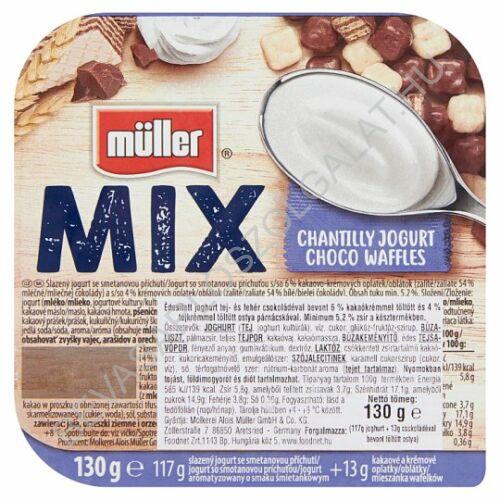 Müller Mix Choco Waffles joghurt tej- és fehér csokoládéval bevont kakaó- és tejkrémes ostya párnácskával 130 g