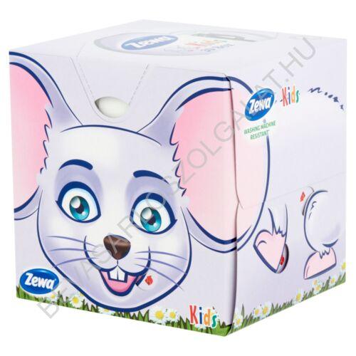 Zewa Kids Papírzsebkendő Illatmentes kocka dobozos 3 rétegű, 60 db