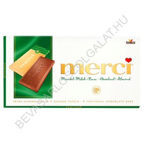 Merci Táblás Tejcsokoládé Mogyoró- és Manduladarabokkal 100 g