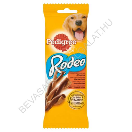Pedigree Rodeo Jutalomfalat Kutyáknak Marhahússal 4 db-os 70 g