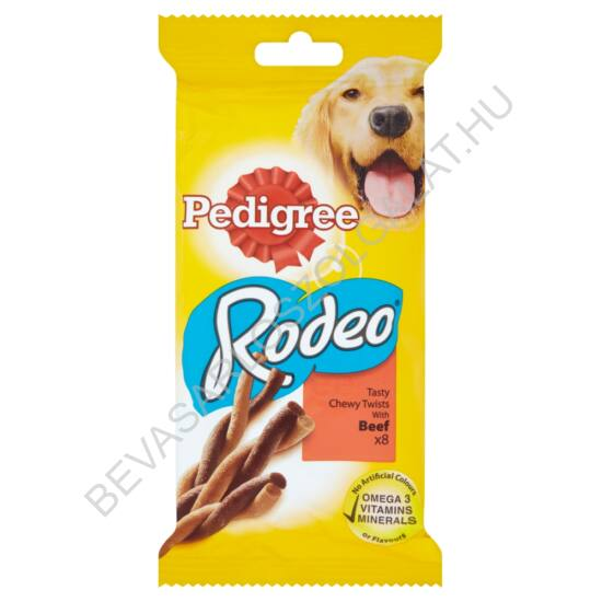 Pedigree Rodeo Jutalomfalat Kutyáknak Marhahússal 8 db-os 140 g