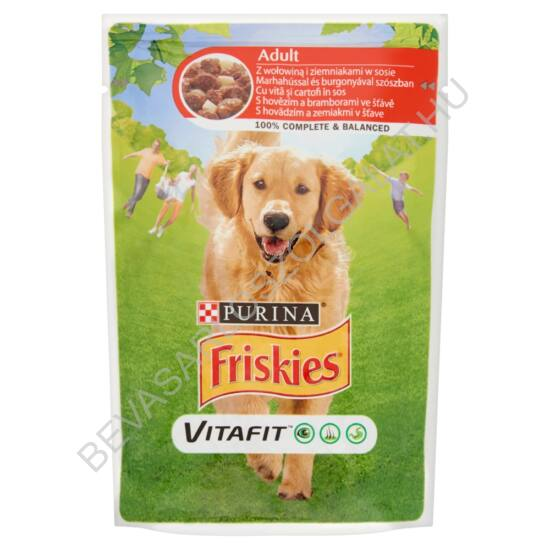 Friskies Vitafit Adult Alutasakos Kutyaeledel Marhahúsal és Burgonyával Szószban 100 g (#20)