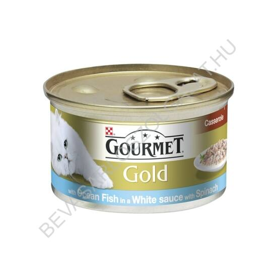 Gourmet Gold Macskaeledel Konzerv Tengeri Hallal Spenótos Szószban Duo Élmény 85 g