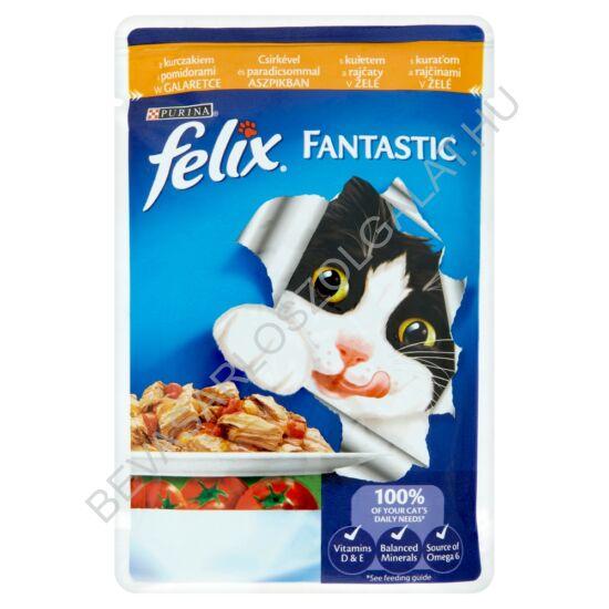 Felix Fantastic Alutasakos Macskaeledel Csirkehús Paradicsommal Aszpikban 100 g