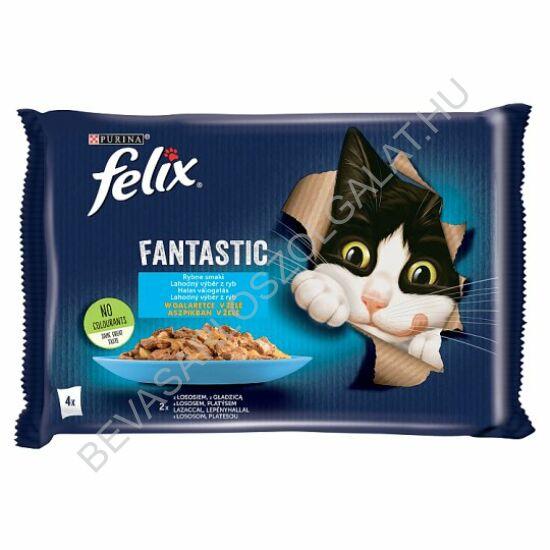 Felix Fantastic Alutasakos Macskaeledel Halas Válogatás Aszpikban 2 db Lazaccal + 2 db Lepényhallal 4x100 g=400 g (#10)
