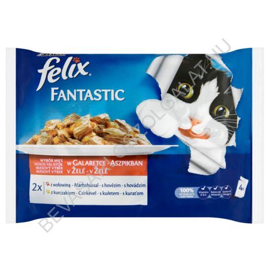 Felix Fantastic Alutasakos Macskaeledel Házias Válogatás Aszpikban 2 db Marhahússal + 2 db Csirkével 4x100 g=400 g (#10)