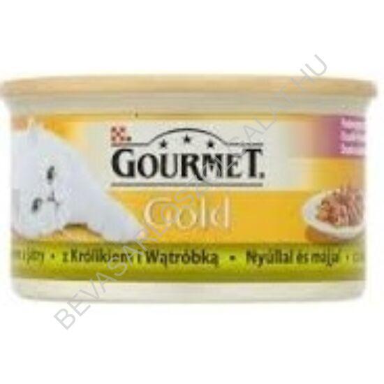 Gourmet Gold Macskaeledel Konzerv Nyúlhúllal és Májjal 85 g