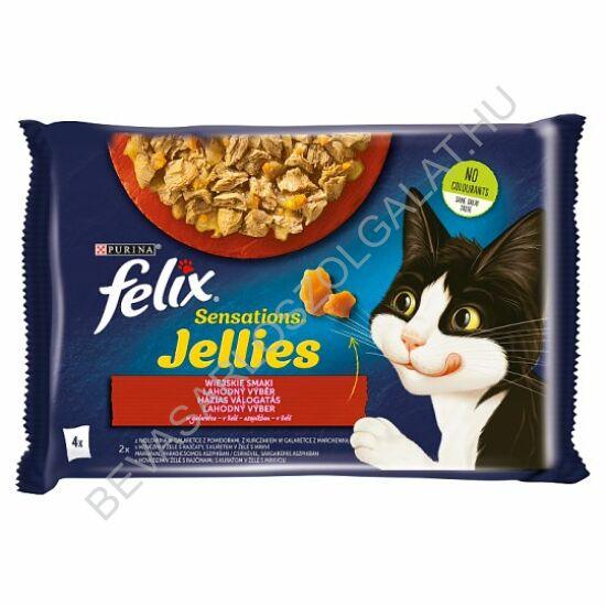Felix Sensations Alutasakos Macskaeledel Húsos Válogatás Aszpikban 2 db Csirke + 2 db Marha 4x100 g