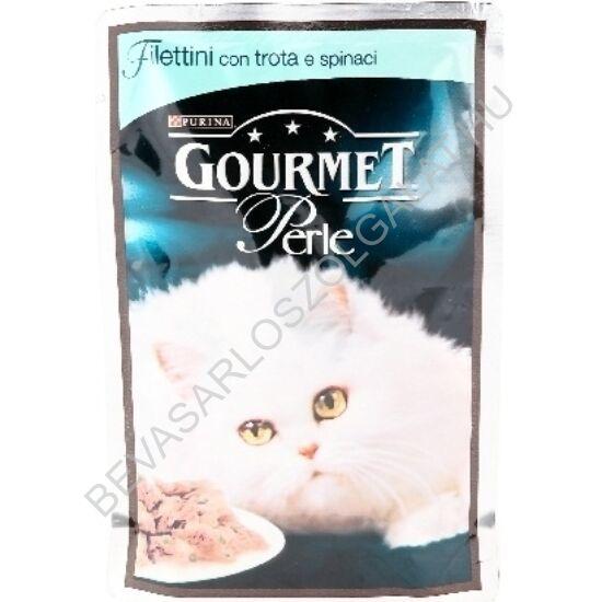 Gourmet Perle Alutasakos Macskaeledel Falatok Szószban Pisztránggal és Spenóttal 85 g