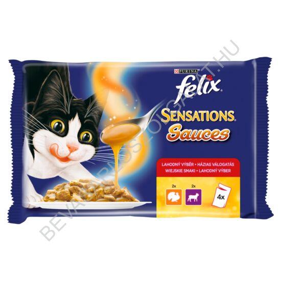 Felix Sensations Sauces Alutasakos Macskaeledel Házias Válogatás 2 Féle Íz 4x100 g=400 g (#10)