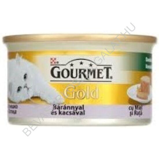 Gourmet Gold Macskaeledel Konzerv Báránnyal és Kacsával Darabok Pástétomban 85 g