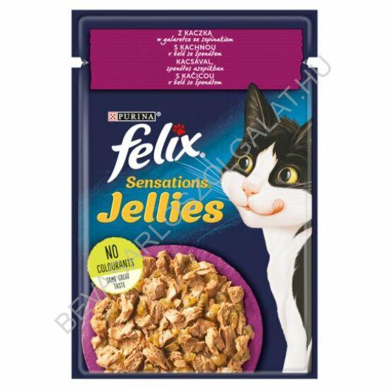 Felix Sensations Alutasakos Macskaeledel Kacsával és Spenóttal Aszpikban 100 g (#20)