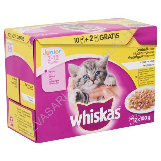 Whiskas Junior Alutasakos Macskaeledel Szárnyas Válogatás Aszpikban 12x100 g