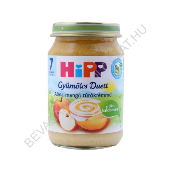 Hipp Bio Bébidesszert Gyümölcs Duett Alma - Mangó Túrókrémmel - 7 hónapos kortól 160 g