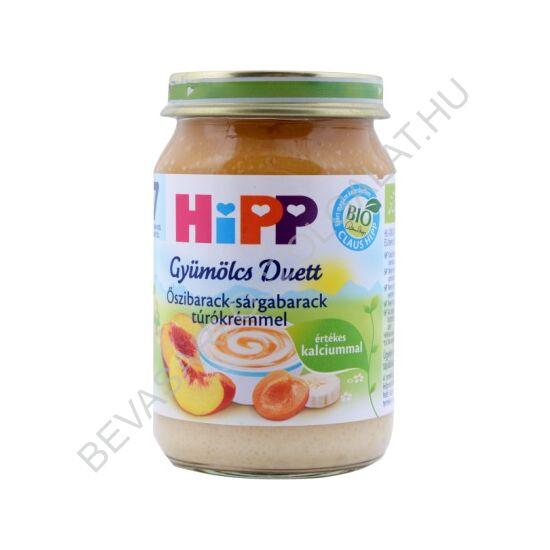 Hipp Bio Bébidesszert Gyümölcs Duett Őszibarack - Sárgabarack Túrókrémmel - 7 hónapos kortól 160 g