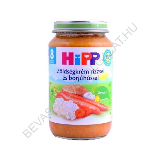 Hipp BIO Bébiétel Zöldségkrém Rizzsel és Borjúhússal - 8 hónapos kortól 220 g